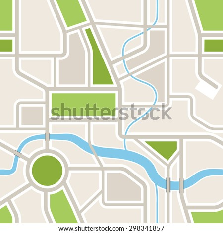 Seamless background of abstract city map  - stock vector