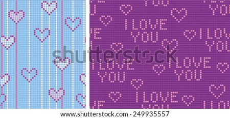 Seamless background of bands scored points. Heart and appreciation inscription. Blue and purple decision. - stock vector