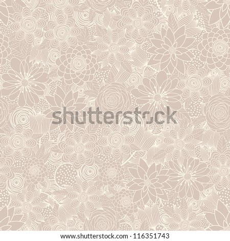 Seamless background of beige  of flowers - stock vector