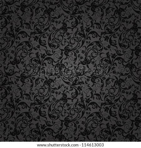 Seamless background of black color in the style of Damascus - stock vector