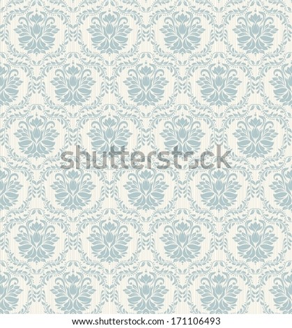 Seamless background of blue color in the style of baroque  - stock vector