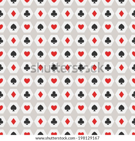 Seamless background of card suits  - stock vector