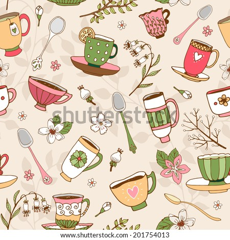 Seamless background of dainty hand-drawn vector tea cups and spoons in vintage style with decorative patterns in square format - stock vector