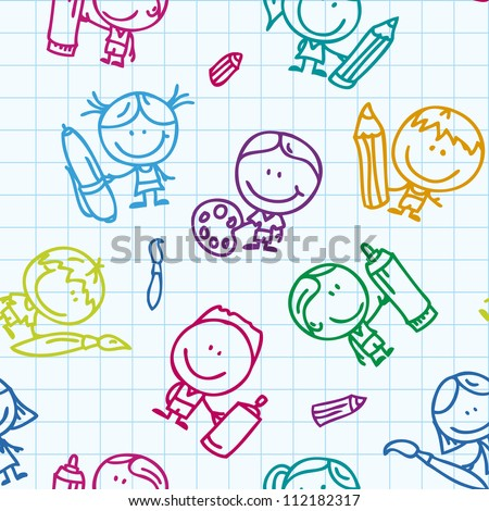 Seamless background of doodle happy children with pen, pencil and paintbrush on school paper - stock vector