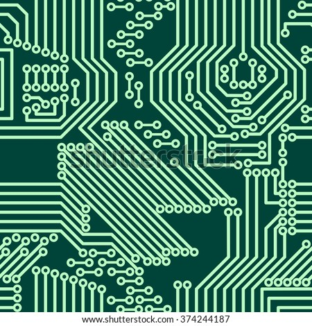 Seamless background of electrical circuit of computer board device (motherboards). Green Light Abstract Technology background for computer graphic website internet business. Electrical circuit - stock vector