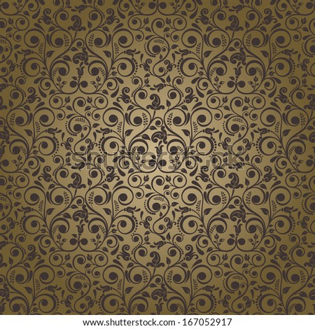 Seamless background of gold and brown color in the style of Damascus  - stock vector