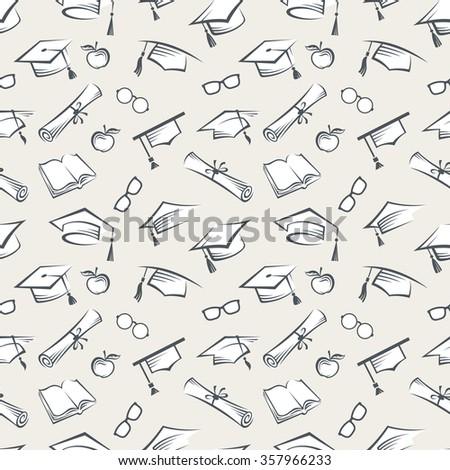 seamless background of graduation caps and other educational icons - stock vector