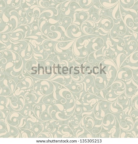 Seamless background of green and beige color in the style of Damascus - stock vector