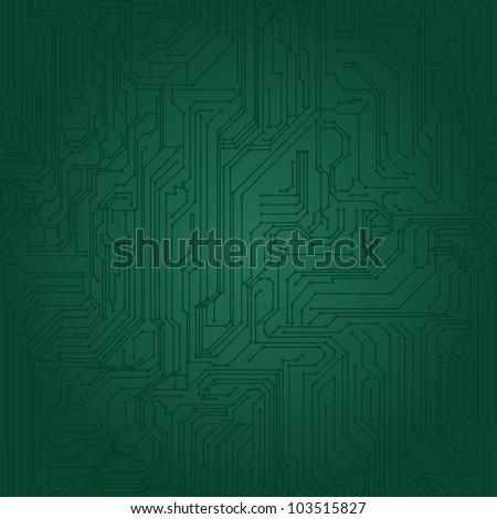 Seamless background of green in the form of printed circuit board - stock vector