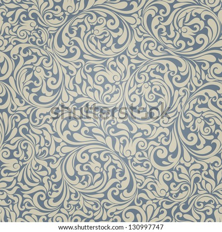 Seamless background of light beige and blue color in the style of Damascus - stock vector