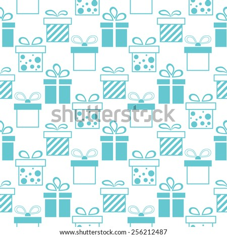 Seamless background of presents boxes. Vector illustration - stock vector