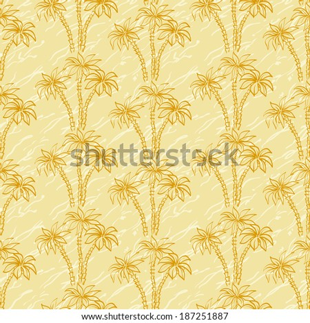 Seamless background, palm trees brown contours and abstract pattern. Vector - stock vector