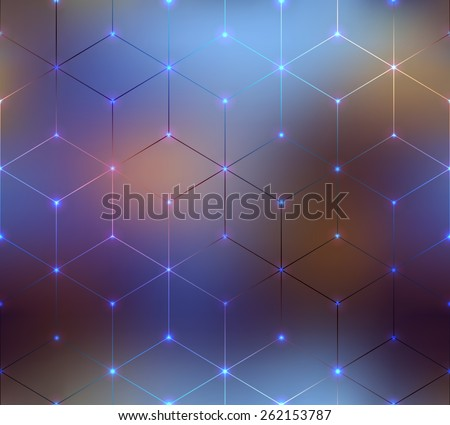 Seamless background pattern. Abstract cubes pattern on blurred background. - stock vector