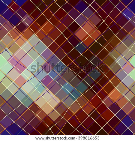 Seamless background pattern. Abstract diagonal plaid pattern on a pixel background. - stock vector