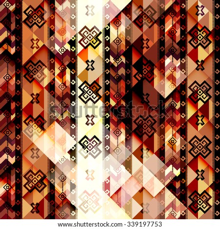 Seamless background pattern. Abstract tribal geometric pattern. - stock vector