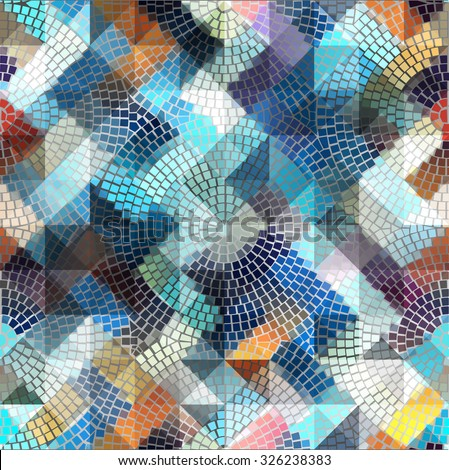 Seamless background pattern. Blue geometric mosaic on gray. - stock vector