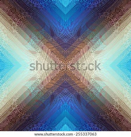 Seamless background pattern. Blue symmetric paisley on geometric background. - stock vector