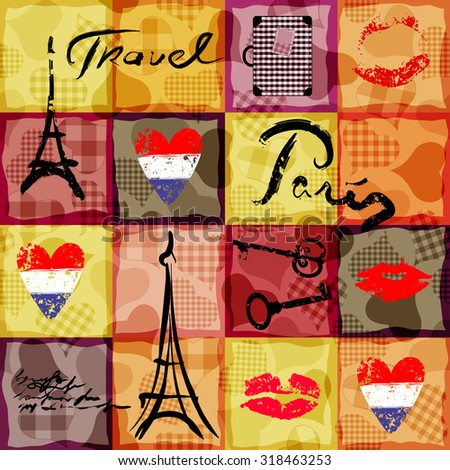 Seamless background pattern. Collage in retro scrapbooking style with original inscriptions word of Paris. - stock vector