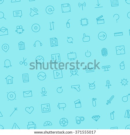 Seamless background pattern for user interface and technology made of thin line icons. Vector illustration. - stock vector
