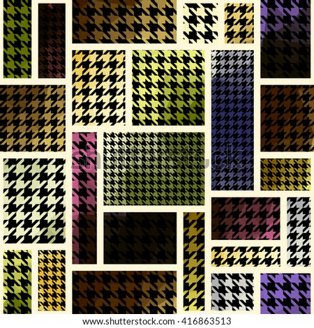 Seamless background pattern. Geometric pattern from hounds-tooth pattern in a patchwork style. - stock vector