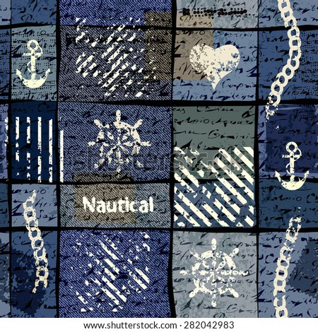 Seamless background pattern. Grunge collage in nautical style. - stock vector