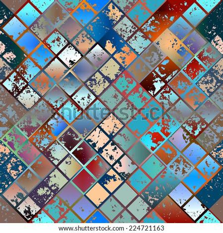 Seamless background pattern. Grunge diagonal mosaic. - stock vector