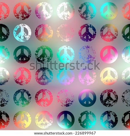 Seamless background pattern. Grunge pacific signs on blur background. - stock vector