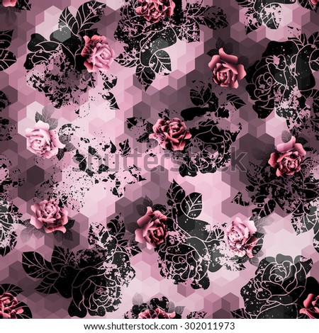 Seamless background pattern. Grunge roses on pink cubes background. - stock vector
