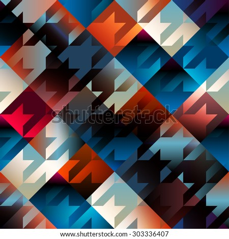 Seamless background pattern. Houndstooth pattern on blue geometric background. - stock vector