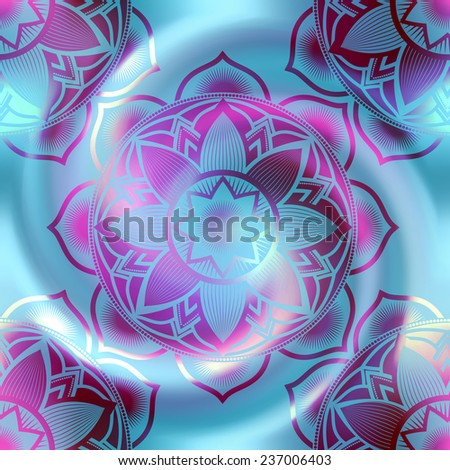 Seamless background pattern. Mandala circles pattern on blur spiral background. - stock vector