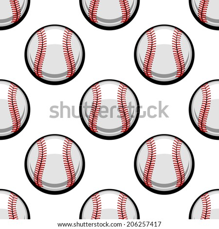 Seamless background pattern of baseball balls with red stitching in square format for sporting design - stock vector