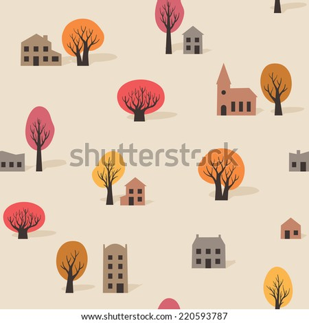 Seamless background pattern of colorful stylized trees with winter foliage and urban buildings in silhouette with houses, apartments and a church, vector elements in square format - stock vector