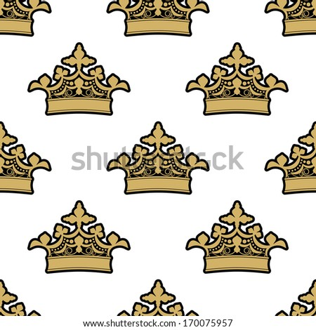 Seamless background pattern of ornate golden royal crowns on a white background. Rasterized version also available in gallery - stock vector
