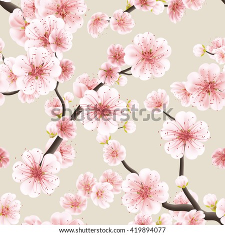 Seamless background pattern of pink Sakura blossom or Japanese flowering cherry symbolic of Spring in a random arrangement square format suitable for textile. EPS 10 vector file included - stock vector