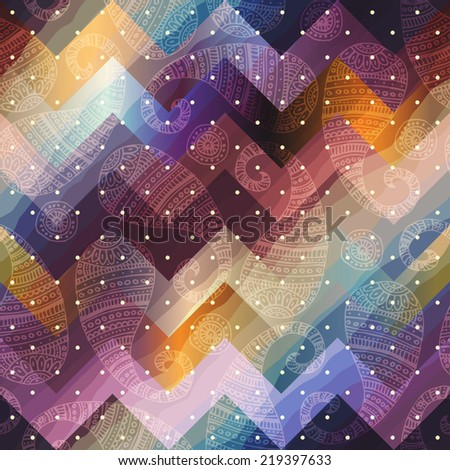 Seamless background pattern. Paisley pattern on chevron background - stock vector