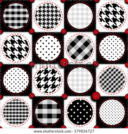 Seamless background pattern. Patchwork background with a polka dot. - stock vector