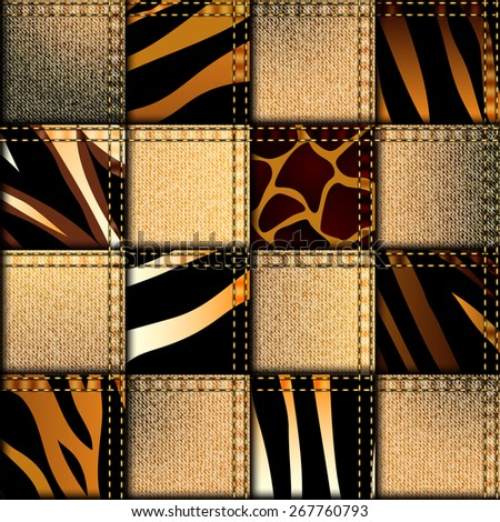 Seamless background pattern. Patchwork in safari style. - stock vector
