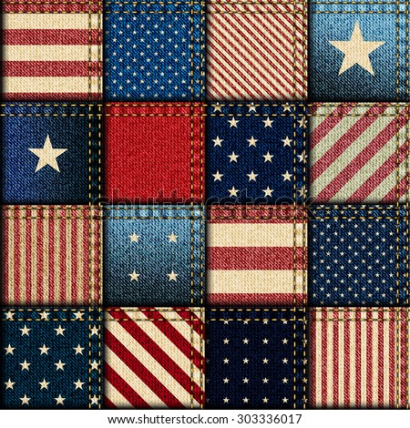 Seamless background pattern. Patchwork of American flag. - stock vector