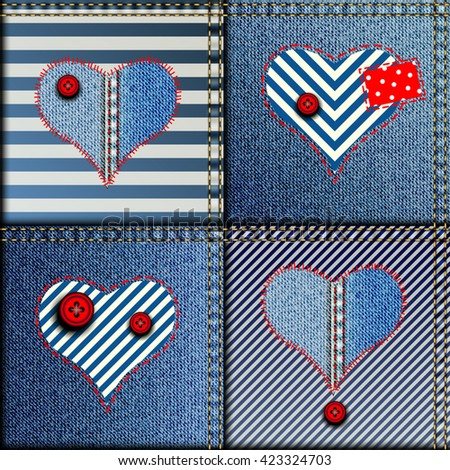 Seamless background pattern. Patchwork of denim fabric in nautical style with the hearts - stock vector