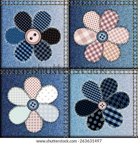 Seamless background pattern. Patchwork of denim fabric with applique of flowers. - stock vector