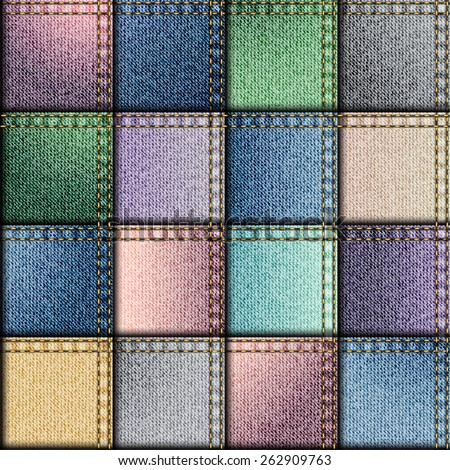 Seamless background pattern. Patchwork of fullcolors denim fabric. - stock vector