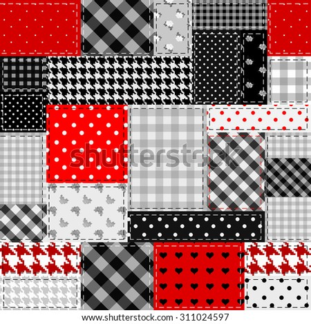 Seamless background pattern. Patchwork of gray and red patches. - stock vector