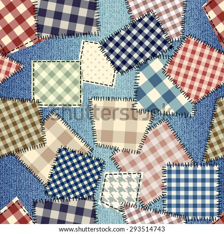 Seamless background pattern. Patchwork on denim fabric. - stock vector