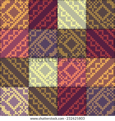 Seamless background pattern. Patchwork pattern with the decorative embroidery. - stock vector