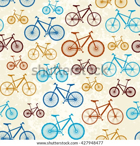 Seamless background pattern. Pattern of retro bicycles - stock vector