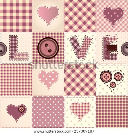 Seamless background pattern. Pink patchwork with the word Love. - stock vector