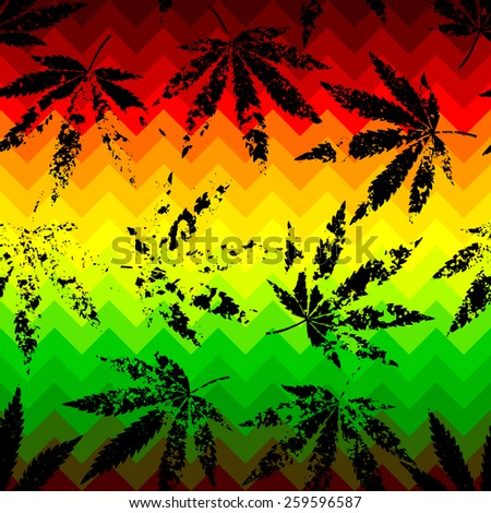 Seamless background pattern. Rastafarian chevron pattern with grunge hemp leaves. - stock vector