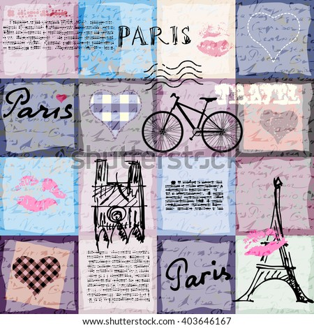 Seamless background pattern. Retro scrapbook collage Paris. - stock vector