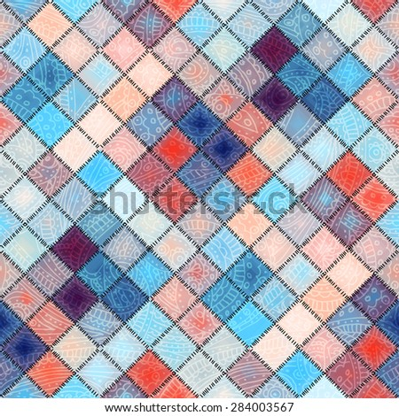 Seamless background pattern. Small diagonal squares in patchwork style with paisley ornament.  - stock vector