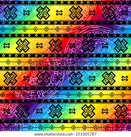Seamless background pattern. Tribal geometric ornament on rainbow colors background. - stock vector